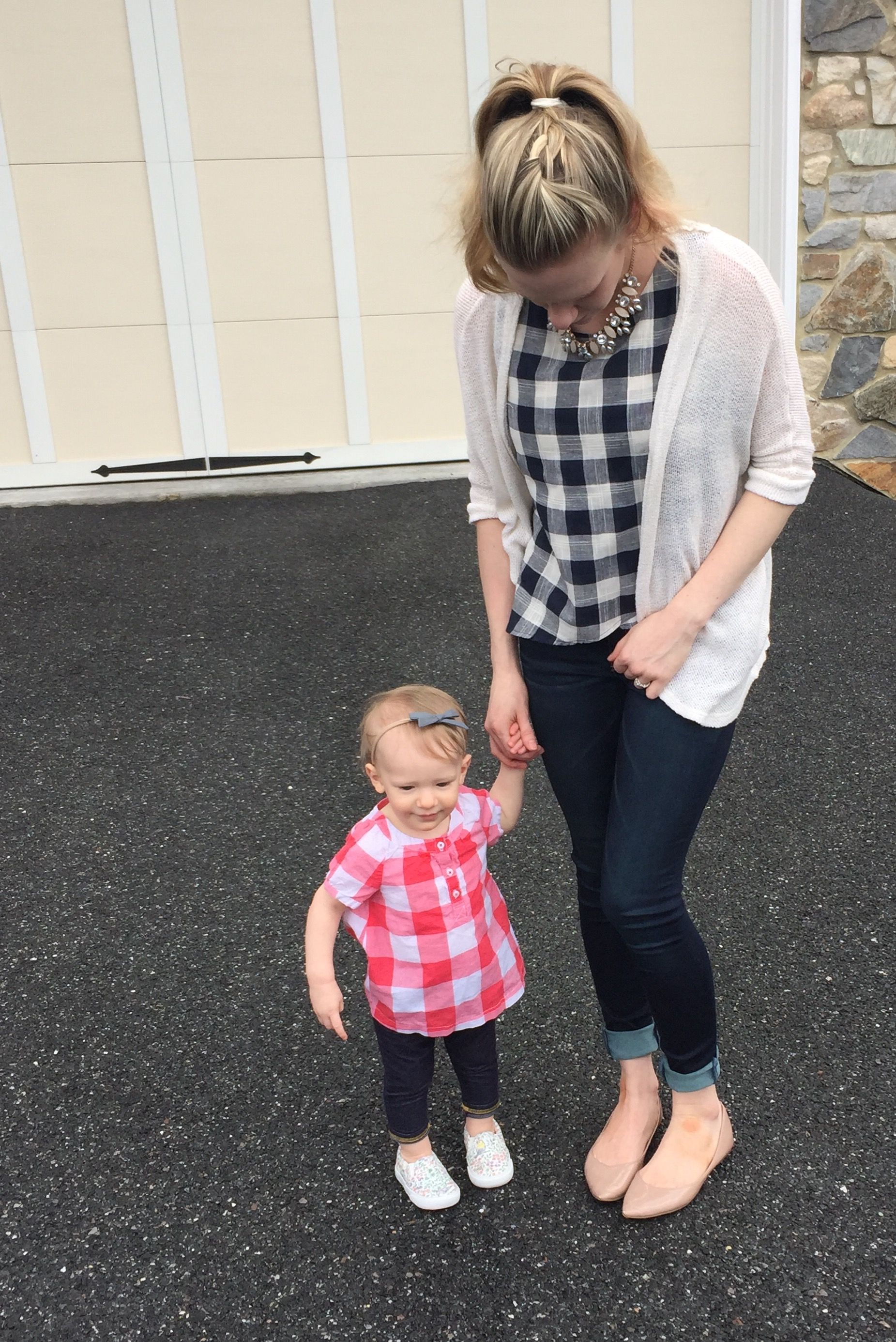 Mommy and me matching checkered shirt