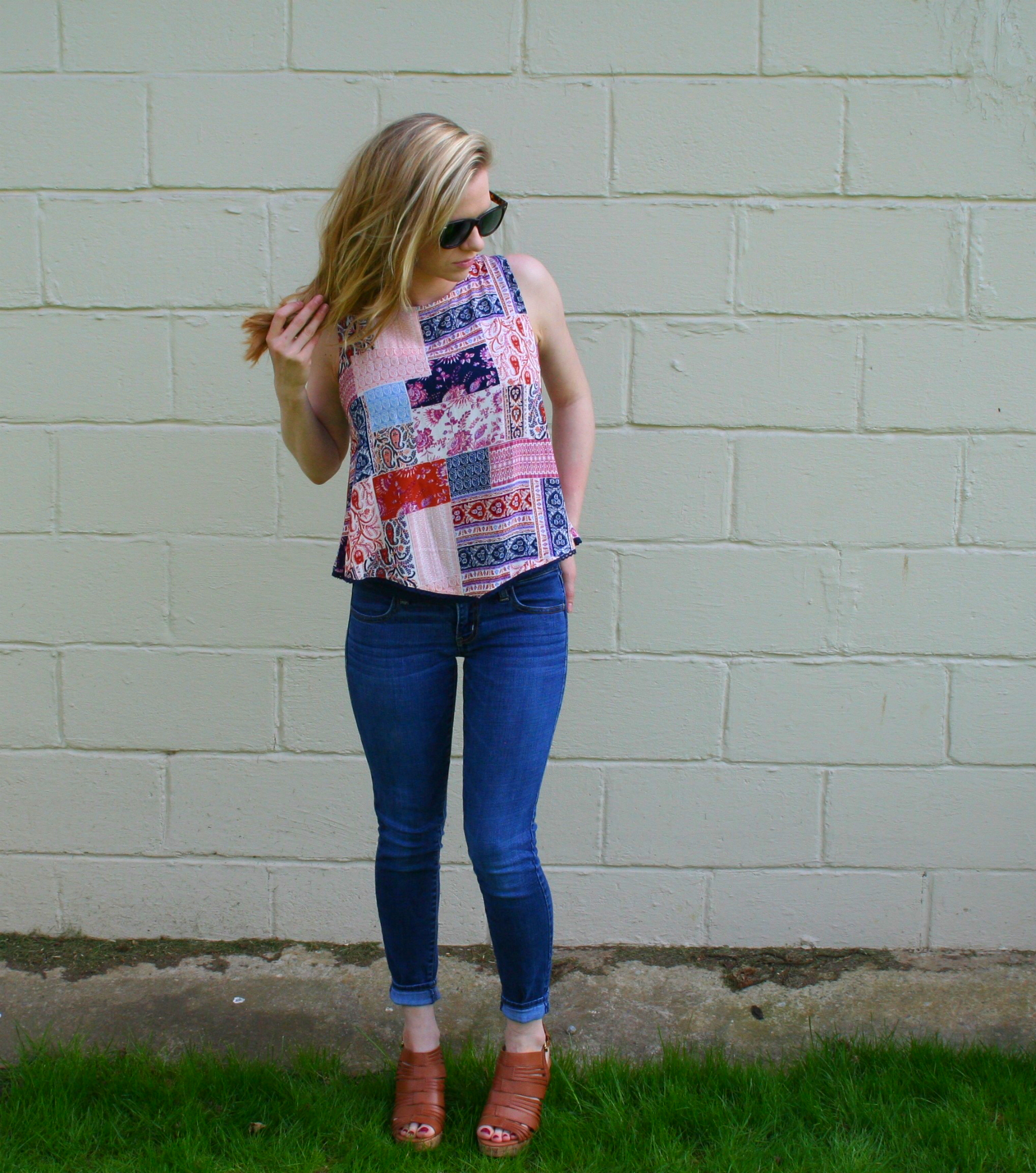 Patchwork shirt, dark jeans and heels
