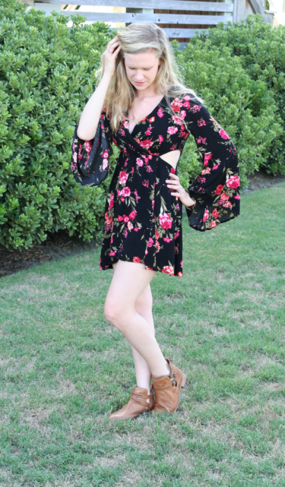 Bell Sleeve Rose Print Dress