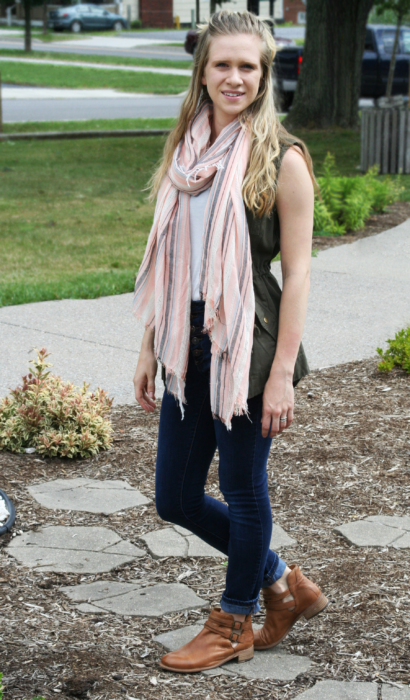 Military Vest & Striped Scarf