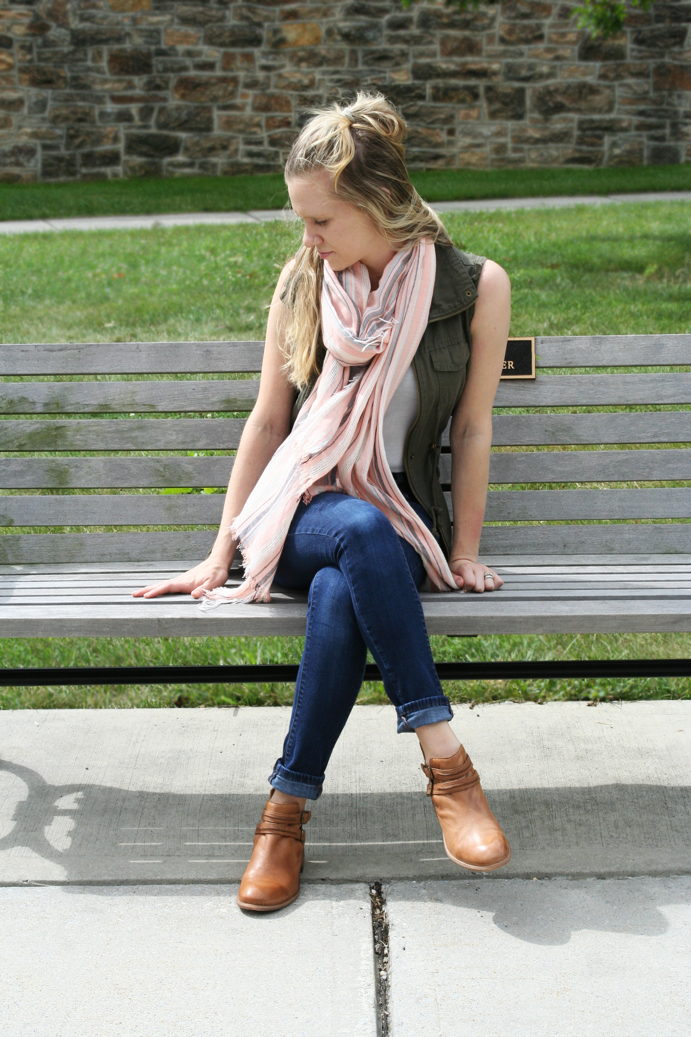 jeans booties and striped scarf