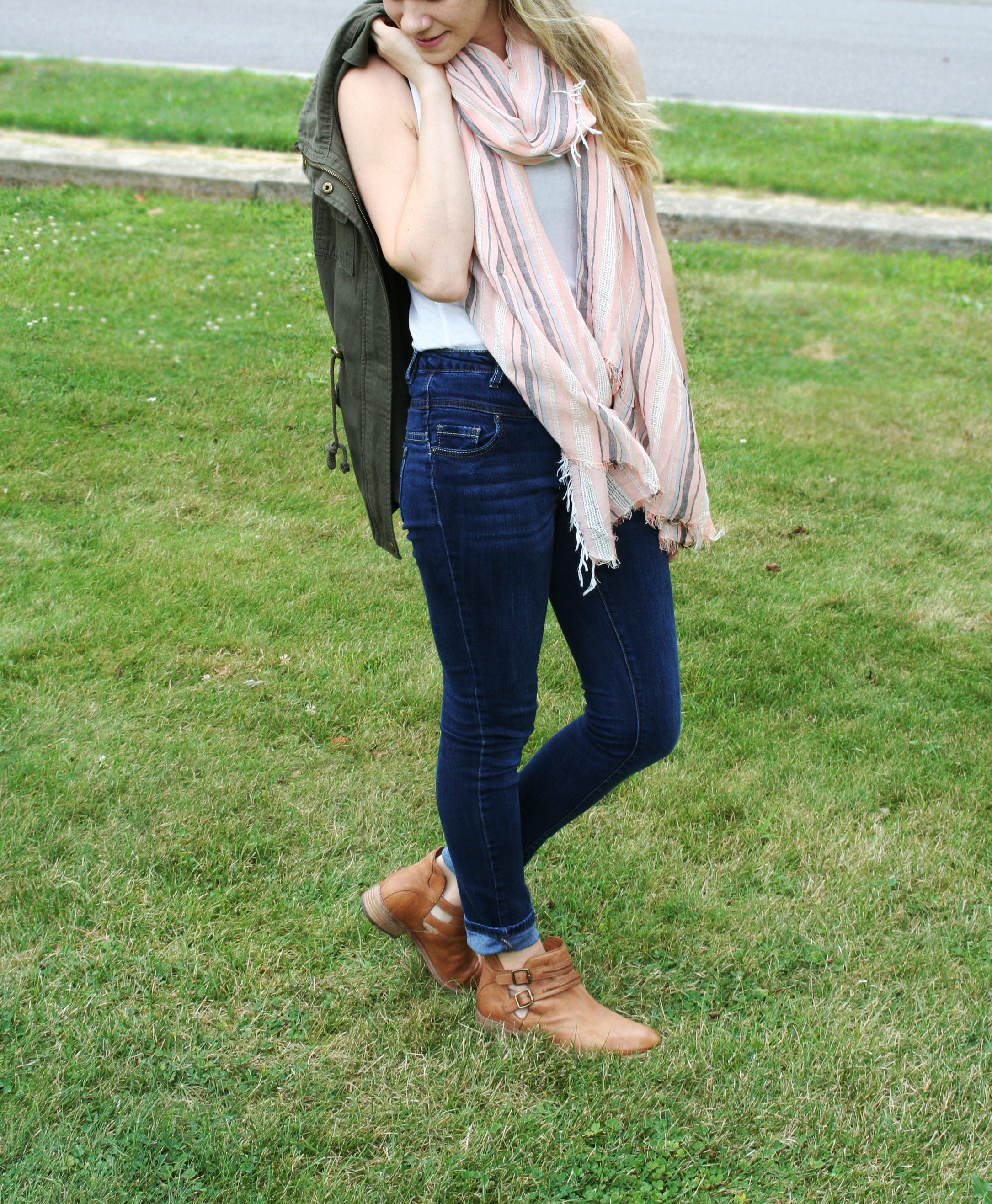 brown booties and scarf