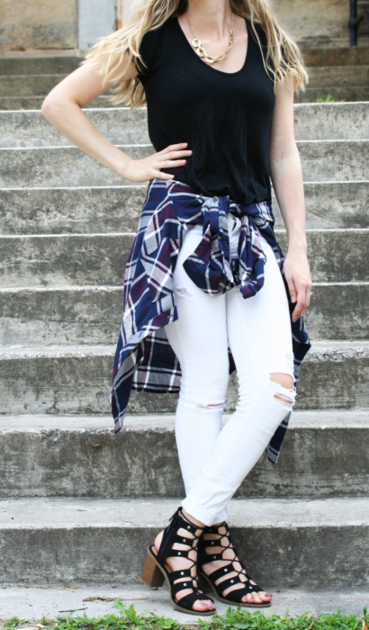 Dark Plaid & Distressed White Jeans