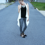 Gray Jeggings & Long White Vest