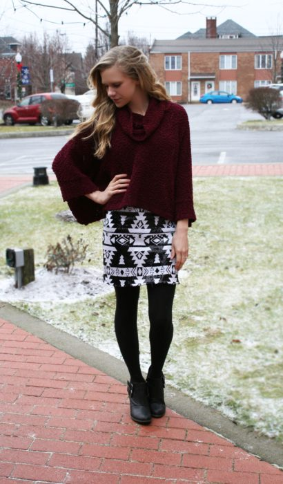Cowl Neck Sweaters & Sequin Skirts