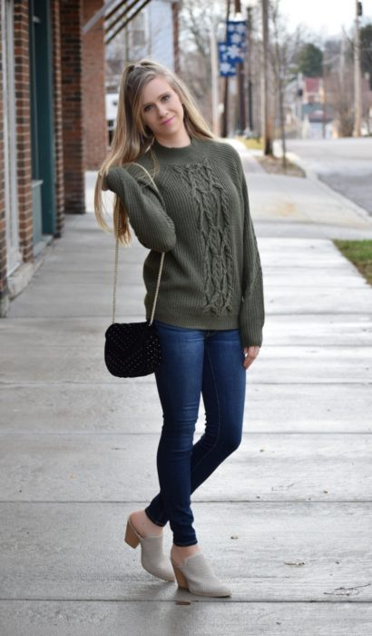 Mules & Olive Cable Knit Sweater