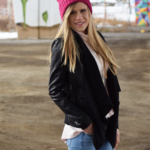 Leather Jacket & Pink Beanie