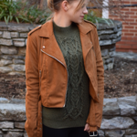Faux Suede Moto Jacket & Cable Knit Sweater