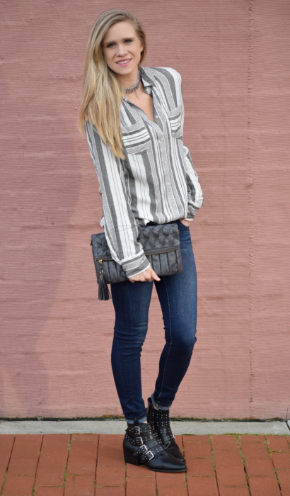Striped Button Down & Embellished Booties