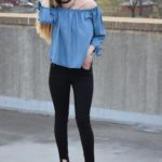 Chambray Cold Shoulder Top & Mules