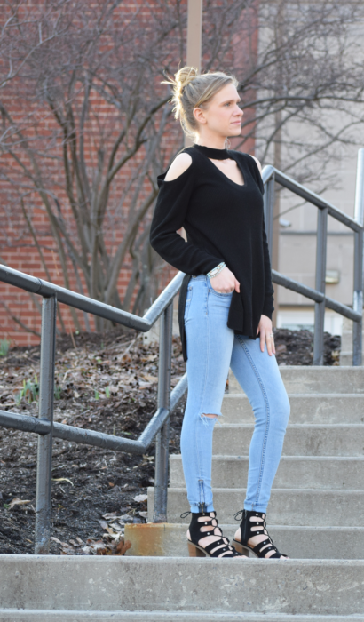 Cold Shoulder Top With Slit & Bracelets