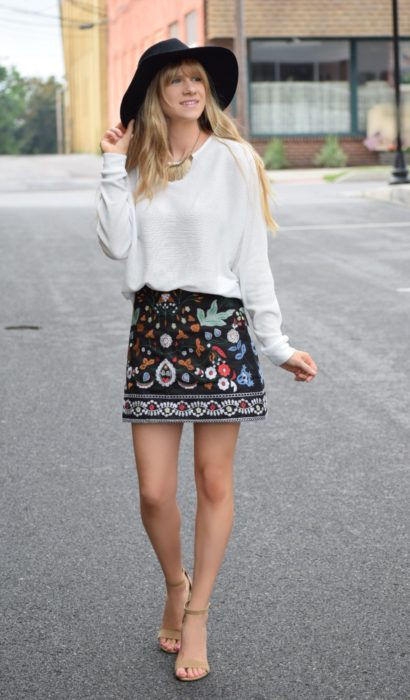 Fall Fashions: Embroidered Mini Skirt