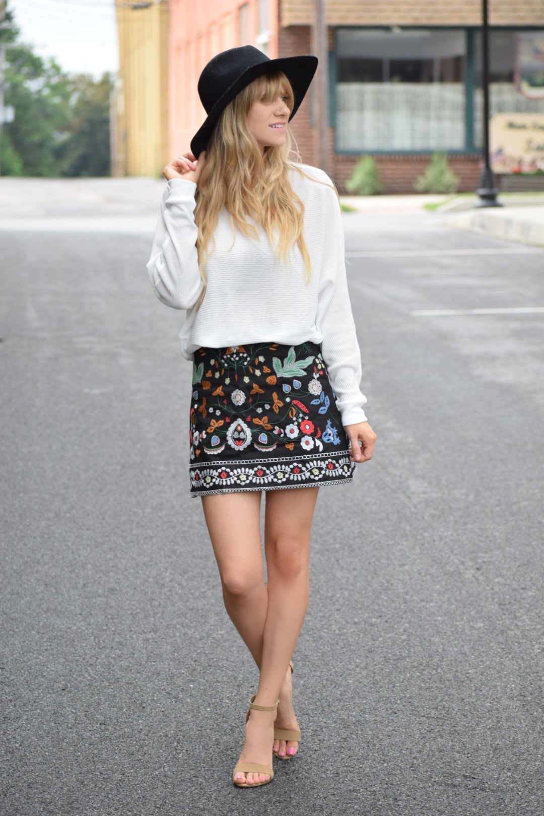 fall fashion, embroidered skirt with white sweater