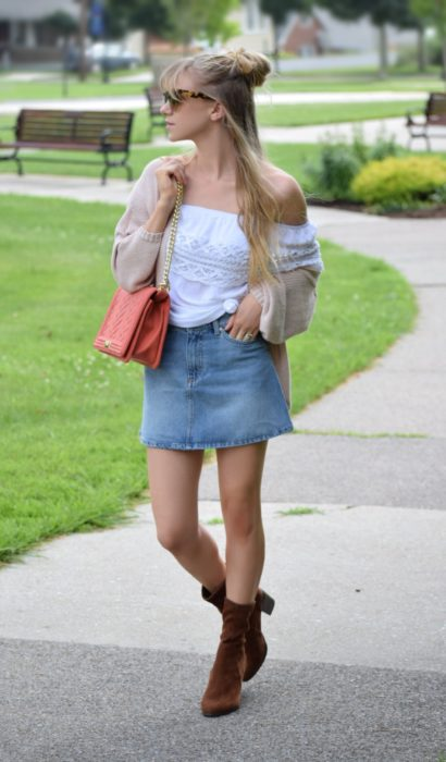 Five Easy Ways To Transform A Denim Skirt Into The Perfect Fall Outfit