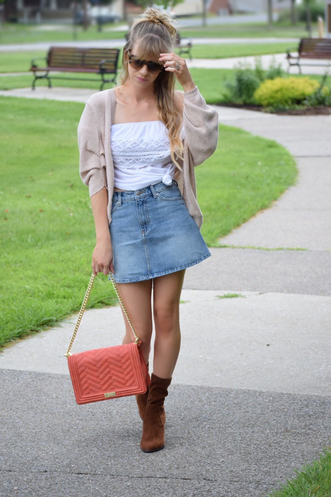 Denim skirt with cardi and sock booties