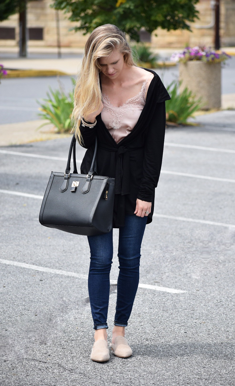 black cardigan details with lace cami