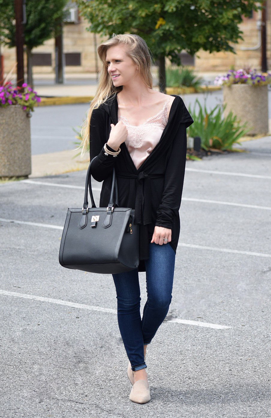 lace cami with black cardigan and jeans for fall fashion