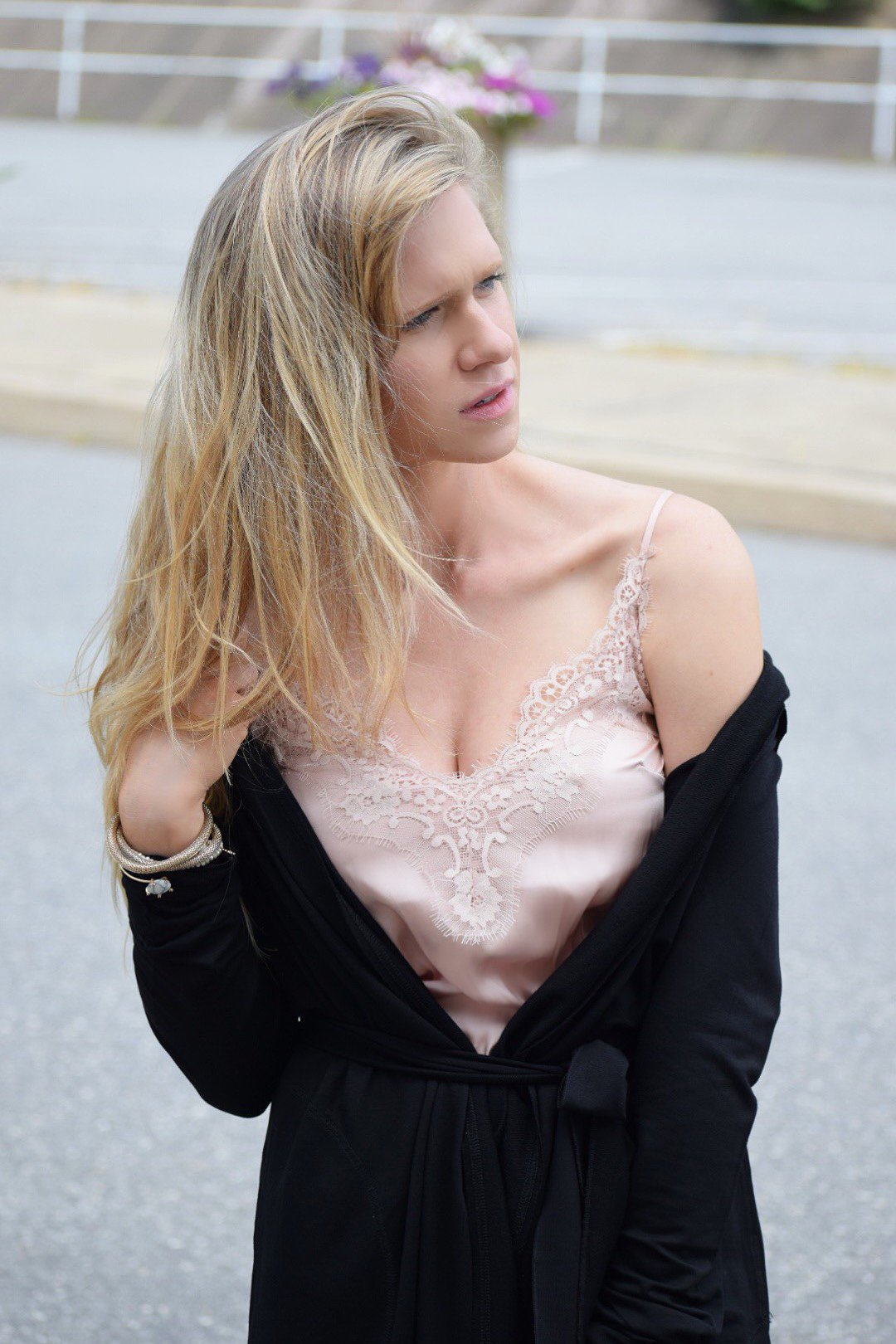 Fall Fashion, lace cami and black cardigan
