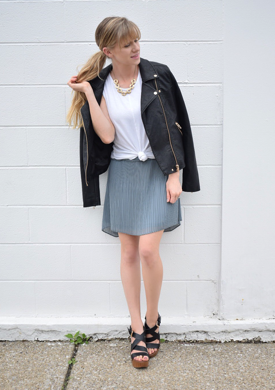 fall fashion, leather moto jacket with skirt