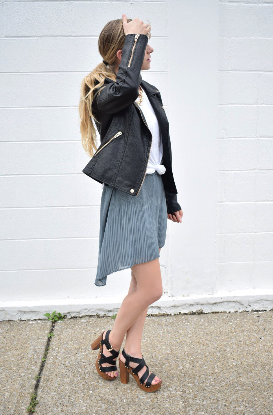 Leather Moto Jacket with skirt, fall fashion