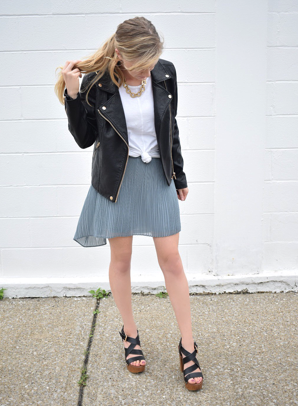 fall fashions leather jacket with skirt