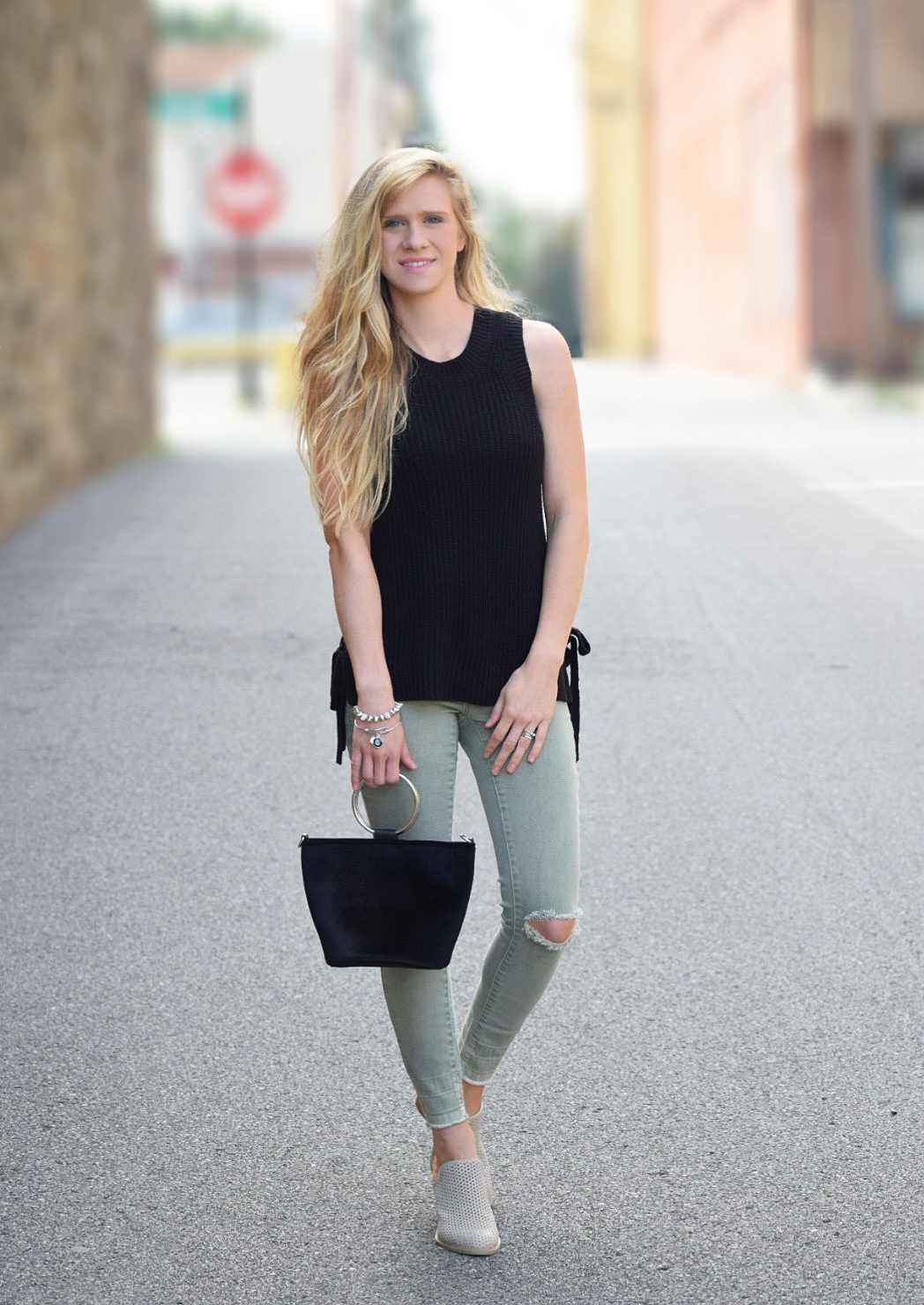 fall outfit mules and olive skinny jeans