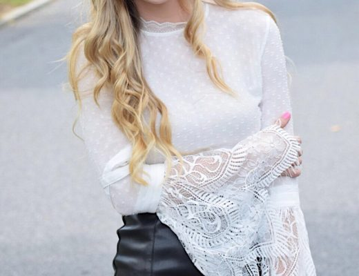leather skirt with bell sleeve top