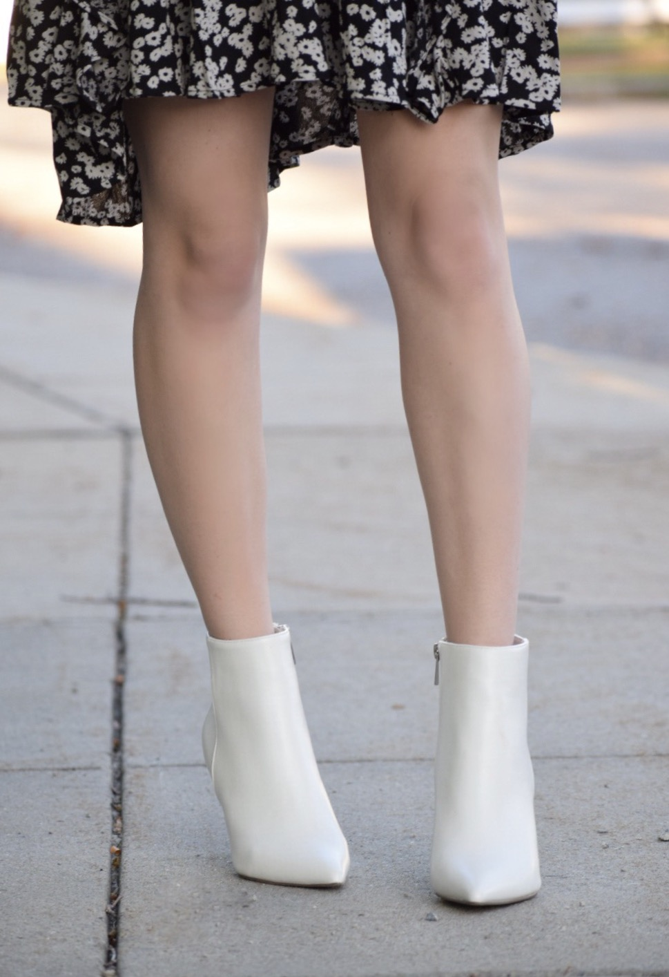 white booties with free people dress