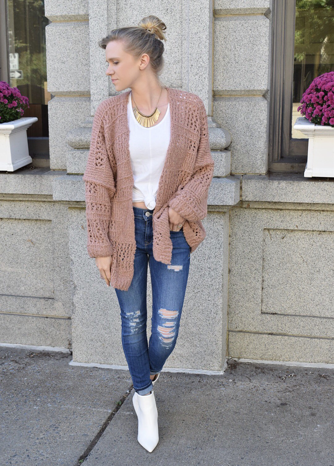 distressed denim and free people cardigan