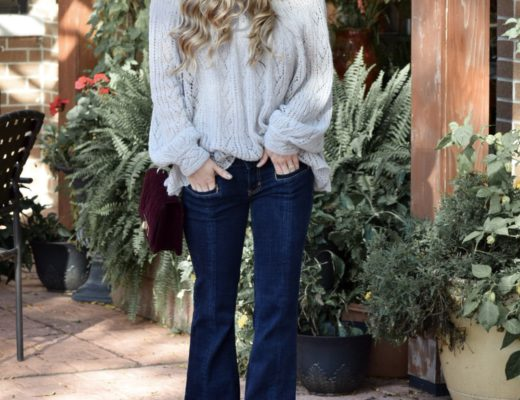 slouchy sweater and flair jeans