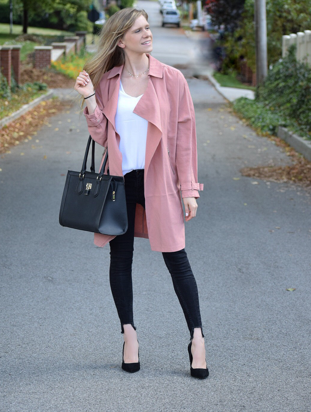 blush duster and black skinny jeans