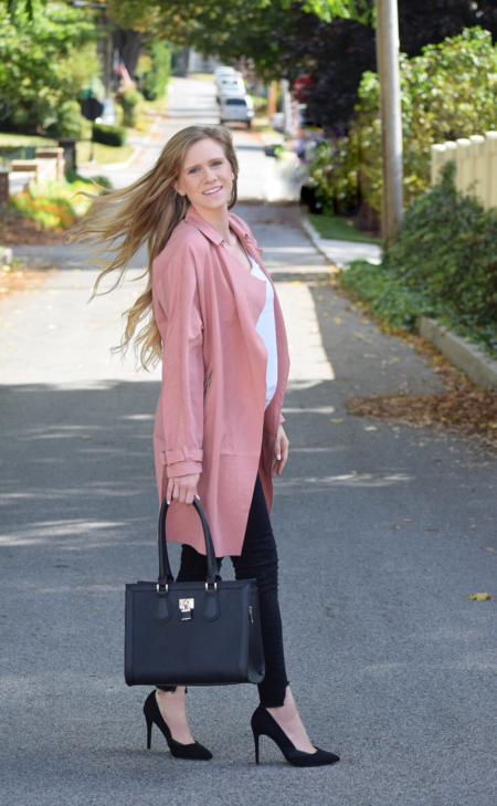 blush duster black skinny and tote bag