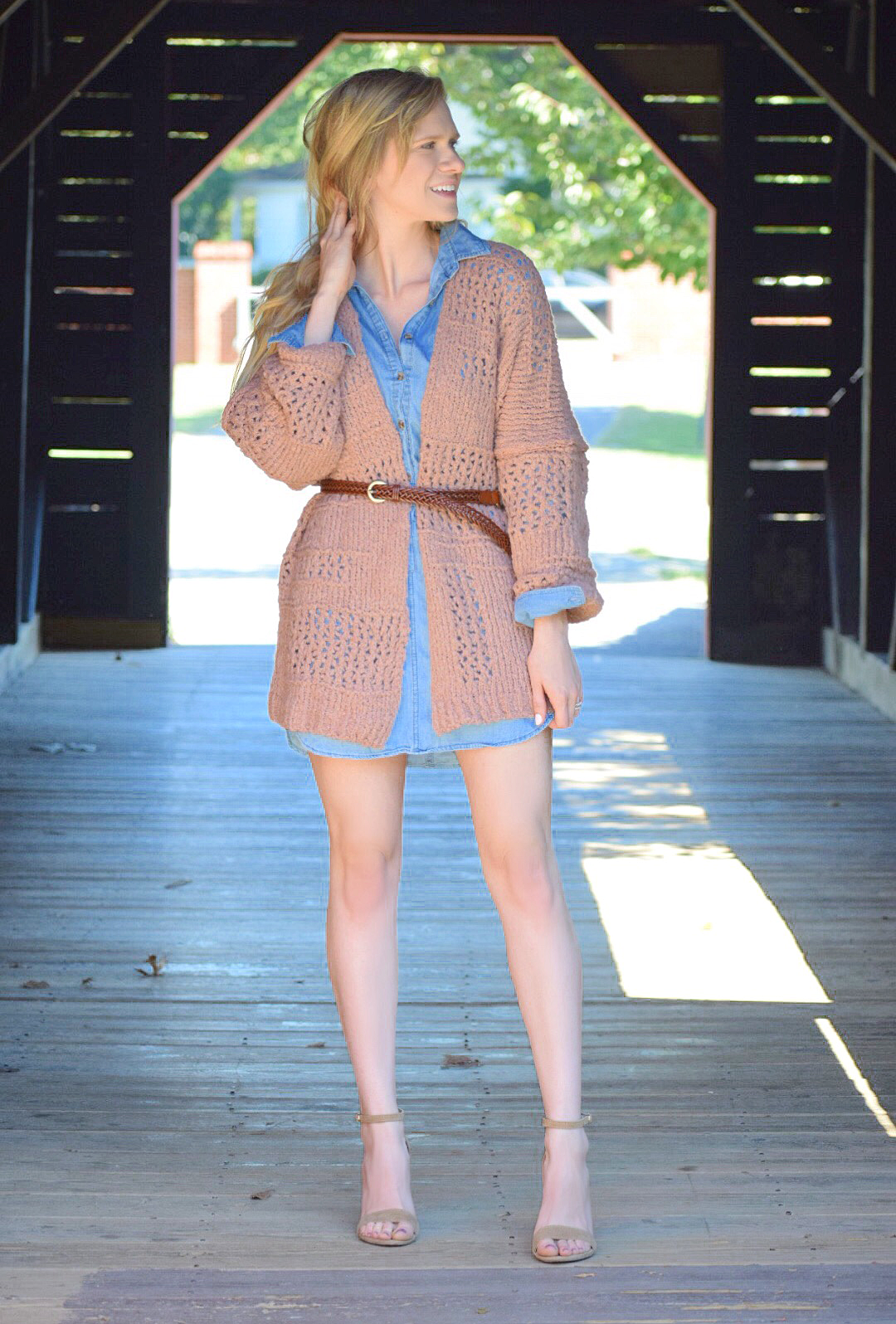 free people cardigan and denim chambray dress