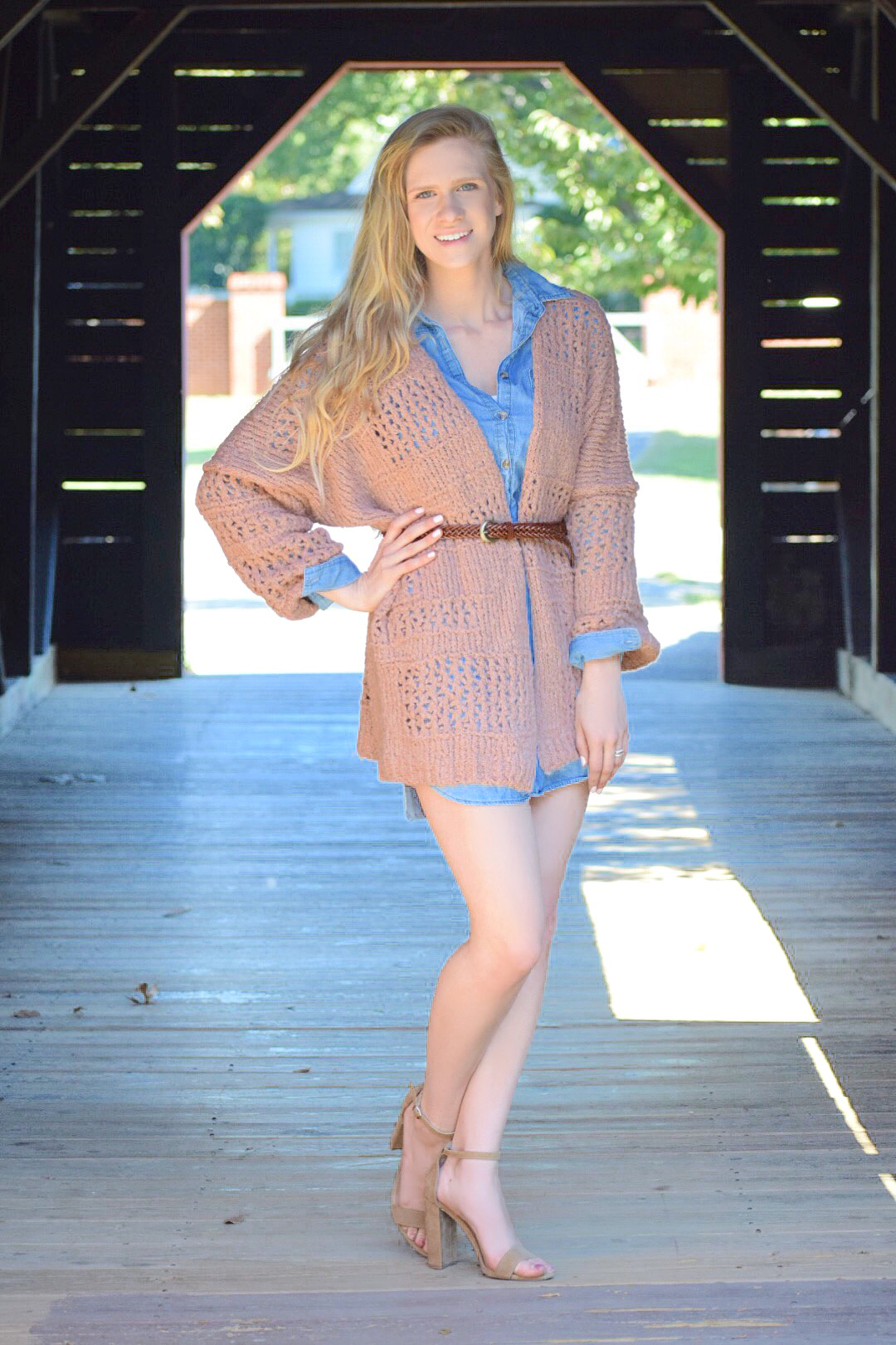 free people cardigan and chambray dress