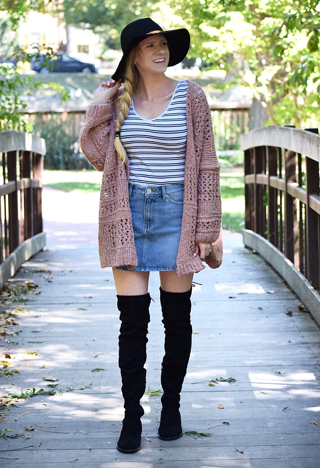 free people cardigan and denim skirt