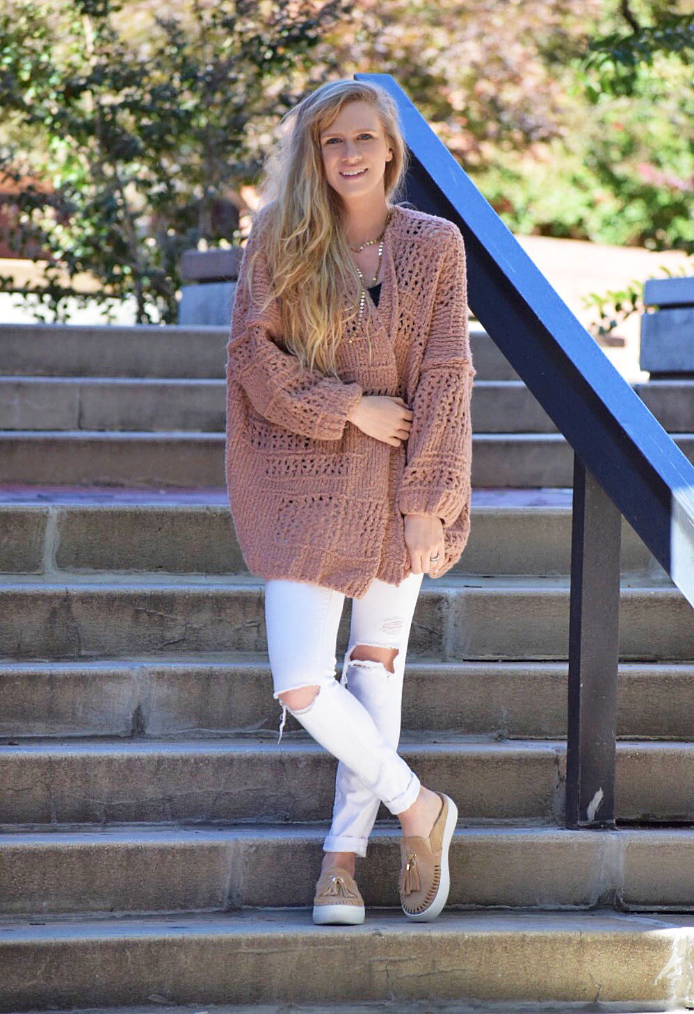 free people cardigan and white denim