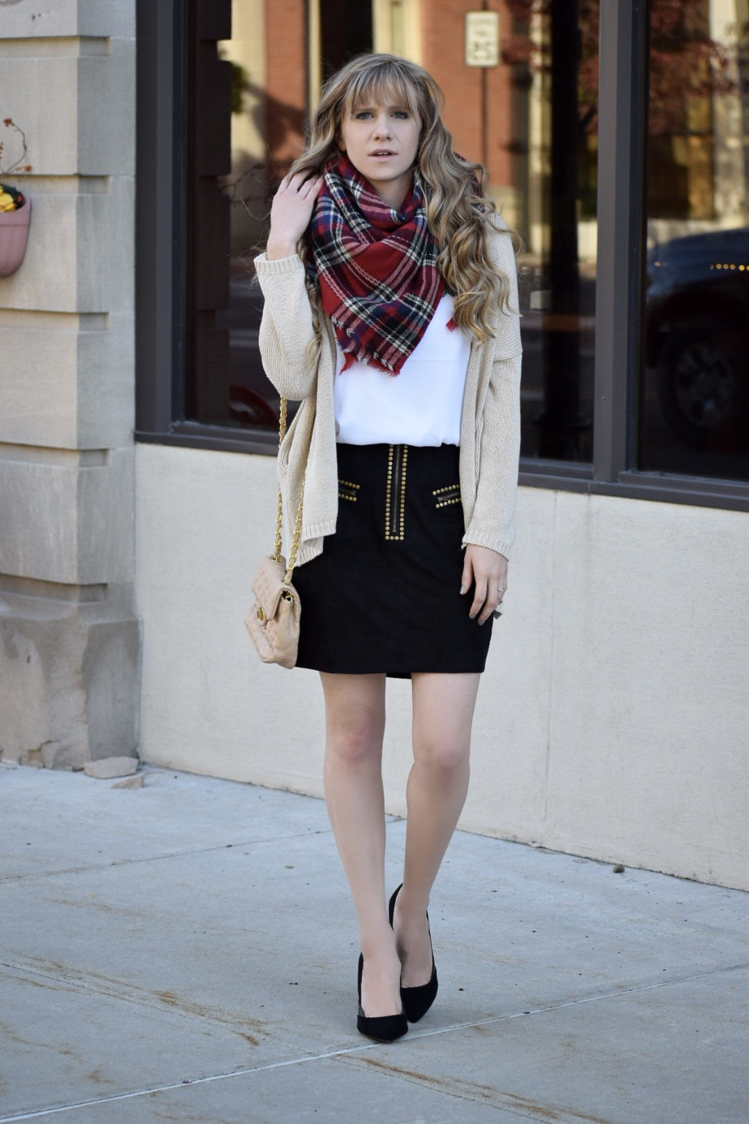 studded skirt and blanket scarf