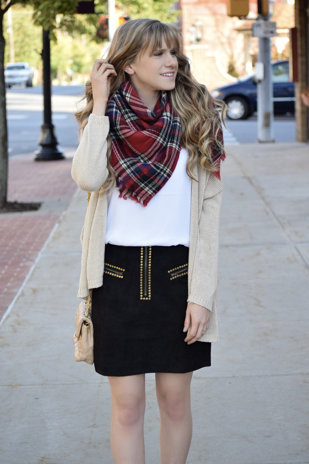studded skirt with scarf